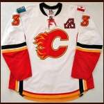 2008-09 Dion Phaneuf Calgary Flames Game Worn Jersey - Photo Match - Team Letter
