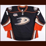 "2013-14 Dustin Penner Anaheim Ducks Game Worn Jersey – Alternate - ""20-year Anniversary"""