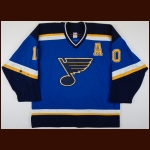 2003-04 Dallas Drake St. Louis Blues Game Worn Jersey - Photo Match – Team Letter