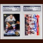 Lot of (2) Bobby Hull Chicago Black Hawks Autographed Cards - PSA/DNA