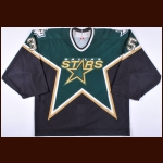 2000-01 Marty Turco Dallas Stars Game Worn Jersey – Rookie - Roger Crozier Saving Grace Award - Photo Match