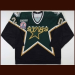 "1999-00 Ed Belfour Dallas Stars Stanley Cup Finals Game Worn Jersey - ""2000 Stanley Cup Finals"" - Team Letter"
