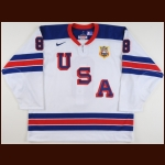 2011 Brock Nelson Team USA World Junior Championships Game Worn Jersey – Throwback - Photo Match – Team USA Letter