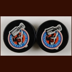 1992-93 In Glas Co Commemorative Pucks - Lot of 2
