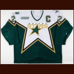 1999-00 Derian Hatcher Dallas Stars Game Worn Jersey - Photo Match – Team Letter