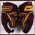 University of Minnesota Maroon Nike/Bauer Game Used Gloves  - Player #4