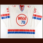 1979 Mark Howe WHA All Star Game Worn Jersey + Socks - 1st Team WHA All Star - Career Best 42-Goal, 65-Assist & 107-Point Season - Photo Match