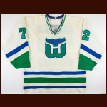 1986-87 Dave Semenko Hartford Whalers Game Worn Jersey - Photo Match