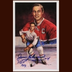 Jean Beliveau Autographed Legends of Hockey Postcard - Deceased