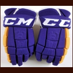 Dustin Brown Los Angeles Kings Purple & Gold CCM Game Worn Gloves - Vintage