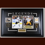 Sidney Crosby Pittsburgh Penguins & Ben Roethlisberger Pittsburgh Steelers Autographed Trading Card Display - PSA/DNA