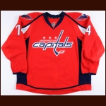 2016-17 John Carlson Washington Capitals Game Worn Jersey - Photo Match – Team Letter