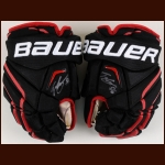 Teuvo Teravainen Chicago Blackhawks Black Bauer Game Worn Gloves – Autographed - Stanley Cup Season - Team Letter