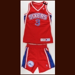 1994-95 Dana Barros Philadelphia 76ers Game Worn Jersey & Shorts – Memorial Armband