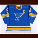 1971-72 Barclay Plager St. Louis Blues Game Worn Jersey - 1st Full-Time Captain's Jersey - Career Best 176 PIMS