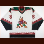 2001-02 Daniel Briere Phoenix Coyotes Game Worn Jersey - 1st 30-Goal Season - Photo Match – Team Letter