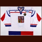 "2004 Petr Sykora Team Czech World Cup Game Worn Jersey – ""21"" – World Cup of Hockey Letter"