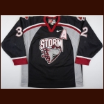 2002-03 Dustin Brown Guelph Storm Game Worn Jersey – Team Letter