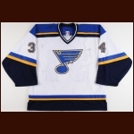 2006-07 Manny Legace St. Louis Blues Game Worn Jersey - Photo Match
