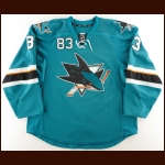 2013-14 Matthew Nieto San Jose Sharks Game Worn Jersey – Rookie – Photo Match