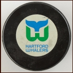 Hartford Whalers Trench MFG Game Used Puck