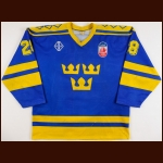 1991 Kjell Samuelsson Team Sweden Canada Cup Game Worn Jersey - Photo Match