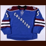 2010-11 David Liffiton Colorado Avalanche Game Worn Jersey – Alternate - Only NHL Goal - Photo Match – Team Letter