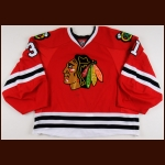 2013-14 Antti Raanta Chicago Blackhawks Game Worn Jersey – Rookie - Photo Match – Team Letter