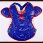 Geovany Soto Chicago Cubs NLDS Game Worn Rawlings Chest Protector – 2008 Rookie season – Rookie of the Year – Autographed - Geovany Soto Letter