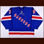 2002-03 Matthew Barnaby New York Rangers Game Worn Jersey - Photo Match – Team Letter