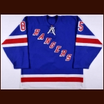 2001-02 Ryan Hollweg New York Rangers Pre-Season Game Worn Jersey – Team Letter