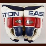 Petr Sykora New York Rangers Red, White & Blue Easton Game Worn Gloves – Team Letter