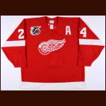 1991-92 Bob Probert Detroit Red Wings Game Worn Jersey - Autographed