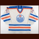 "1982-83 Charlie Huddy Edmonton Oilers Stanley Cup Finals Game Worn Jersey – ""1983 Universiade"" - Career Best 20-Goal & 57-Point Season - NHL Leading +62 - Photo Match4"