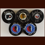 Hall of Fame Puck Group of 5 – Bobby Hull, Mike Bossy, Bob Clarke, John Bucyk & Milt Schmidt – Deceased
