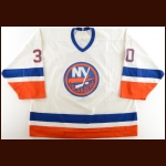 1989-90 Mark Fitzpatrick New York Islanders Game Worn Jersey – Photo Match – The Terrence Murphy Collection – Joe Murphy Letter