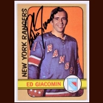 1972-73 OPC Ed Giacomin New York Rangers - Autographed