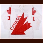 1976 Gerry Cheevers Team Canada Canada Cup Pre-Tournament Game Worn Jersey