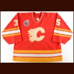 1992-93 Jeff Reese Calgary Flames Game Worn Jersey – Photo Match
