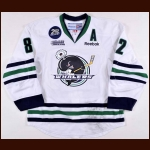 "2014-15 Sonny Milano Plymouth Whalers Game Worn Jersey – ""25-year"" - Photo Match – Team Letter"