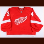 2014-15 Petr Mrazek Detroit Red Wings Game Worn Jersey – Rookie - DSBA Rookie of the Year - Photo Match – Team Letter