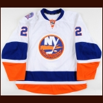 "2014-15 Nick Leddy New York Islanders Game Worn Jersey – ""Tradition On Ice"" - Photo Match – Team Letter"