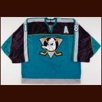 1997-98 Mark Janssens Anaheim Mighty Ducks Game Worn Jersey – Alternate