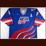"1996 Keith Tkachuk Team USA World Cup of Hockey Game Worn Jersey – ""1996 World Cup of Hockey"" - Photo Match – NHLPA Letter"