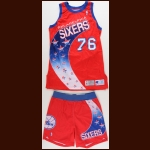 1993-94 Shawn Bradley Philadelphia 76ers Game Worn Jersey & Shorts - Rookie - Team Letter
