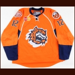 2007-08 Kyle Okposo Bridgeport Sound Tigers Game Worn Jersey - 1st Pro Jersey – Photo Match - Team Letter