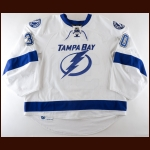 2013-14 Ben Bishop Tampa Bay Lightning Game Worn Jersey - Photo Match – Team Letter
