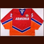 2008 Arten Kasumyan Armenian Under 20 National Team World Jr. Championships Game Worn Jersey