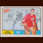 1968-69 Roger Crozier Detroit Red Wings Autographed Card - Deceased