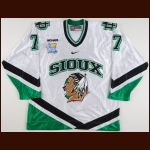 "2007-08 T.J. Oshie University of North Dakota Game Worn Jersey – ""2008 Denver Frozen Four"" – ""University of North Dakota 125-year Anniversary"" - Last College Jersey – Photo Match – Team Letter"